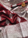 Maroon color soft banarasi silk saree with zari weaving pallu