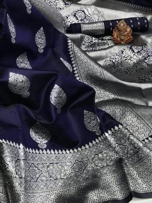 Navy blue color soft banarasi silk saree with zari weaving pallu