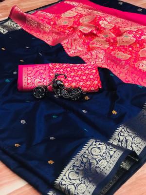 Soft banarasi silk saree with zari work