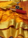 Raw silk saree with zari weaving pallu
