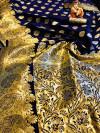 Soft lichi silk saree with golden zari work