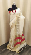 Raw silk saree with zari woven work