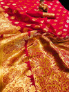 Soft lichi silk saree with golden zari work