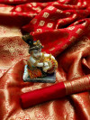 Soft banarasi silk saree with golden zari weaving work