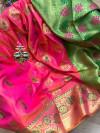 Pink colored Soft banarasi silk saree with woven design