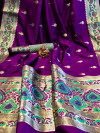 Soft banarasi silk saree with zari woven border
