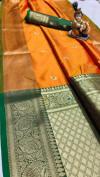 Orange color soft silk weaving saree with zari work