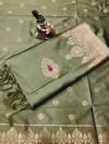 Lichi silk saree with zari weaving rich pallu