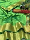 Raw silk saree with zari weaving pallu