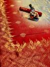 Handloom ikat weaving silk saree with zari work