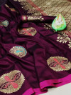 Soft lichi silk saree with zari woven work