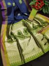 Handloom raw silk saree with zari woven butta and pallu