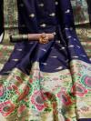 Soft banarasi silk saree with zari woven border